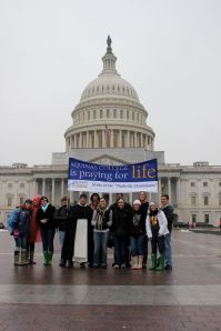 Students from Aquinas College in Nashville gather outside the U.S. Capitol Building during the 2012 March for Life.