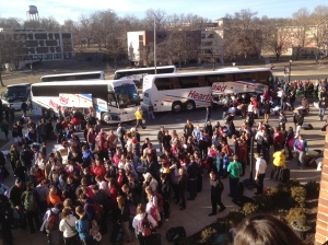 Students at Benedictine College gather Jan. 23 to board the buses for the March for Life.