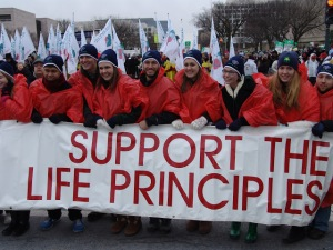 University of Notre Dame students were invited to carry the lead banner at the March for Life. (Photo courtesy of Matt Cassens of the St. Blogustine blog) http://stblogustine.blogspot.com/2013/01/40th-annual-march-for-life-pictures-and.html