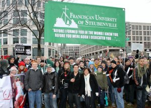 Franciscan University of Steubenville students gather at the beginning of the 2012 March for Life in Washington, D.C.