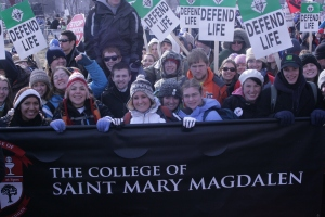 Students from The College of Saint Mary Magdalen participate in the March for Life.