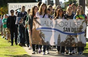 Students from John Paul the Great Catholic University lead the San Diego Walk for Life held on Jan. 19. Photo credit: James R. Compton Jr.