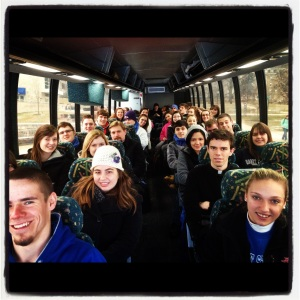 Students and seminarians from Mount St. Mary's aboard the bus on their way to the March for Life.