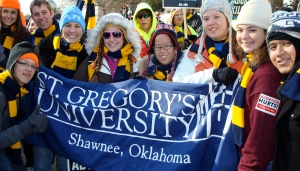 Students from St. Gregory's University in Shawnee, Ok. display their banner at the 2012 March for Life.