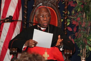 Cardinal Francis Arinze addresses students at Christendom College on Monday, Feb. 4.